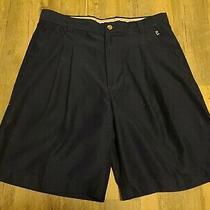 Columbia Golf Shorts Sz 32 Pleated Navy Euc  Photo