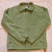 Columbia Green/yellow Fleece Jacket L/s Full Zip Drawstrings Women's Size Large Photo