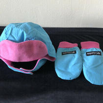 Columbia Infant O/s Pink Blue Ear Flap Adjustable Winter Hat With Gloves Photo