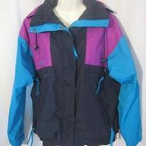 Columbia Jacket M Radial Sleeve Hidden Hood Pockets Black Teal Magenta Womens M Photo