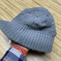 Columbia Knit Winter Ski Visor Hat Billed Brim Beanie Cap Grey Youth Size Unisex Photo