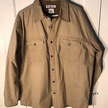 Columbia Large L Men's Shirt Jacket Fleece Lined Tan Cotton Heavy Workwear Rare Photo