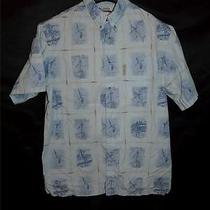 Columbia M River Lodge Blue Fish Fishing Boat Shirt Short Sleeve Button Down Md Photo