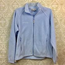Columbia Medium Womens Powder Blue Zip-Up Fleece Sweatshirt Photo