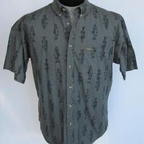 Columbia Men's Fish Button Down Shirt M Fishing Short Sleeve Pocket Green  Photo