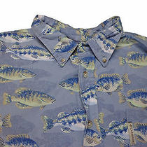 Columbia Men's Fishing Button Front Shirt  Size Large  Blue Fish Theme Soft Photo
