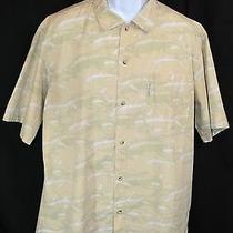 Columbia Men's Large Short Sleeve Fishing/camping Shirt Dolphin Button Down Sand Photo