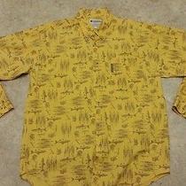 Columbia Men's Large Yellow Fish Pattern Shirt Euc Long Sleeve Fishing Button Photo