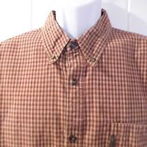 Columbia Men's Long Sleeve Shirt Size Xl Red/beige Photo