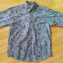 Columbia Men's M 100% Cotton Fishing Fish Hook Blue Button Front Shirt Photo