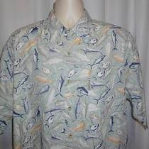 Columbia Men's Shirt Large Fish Theme Short Sleeve Button Front Photo