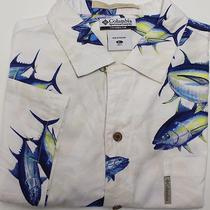 Columbia Men's Short Sleeve Shirt Sz Xl White/blue Fish Photo