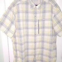 Columbia Men's Short Sleeve Yellow & Gray Plaid Omni Wick Button Shirt Xxl Photo