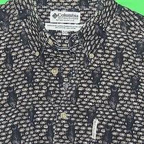 Columbia Men's Size M 100% Cotton Fish Fishing Short Sleeve Button Front Shirt Photo