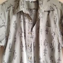 Columbia Men's Size M Fishing Fish Print Button Front Shirt  Euc Photo