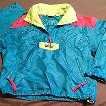 Columbia Men's Windbreaker Ski Pullover Vtg 90s Neon Radial Sleeve Size Medium Photo