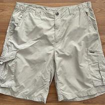 Columbia Mens 36 X 10 Beige Nylon Elastic Side Waist Cargo Shorts Omni-Shade Photo