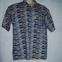 Columbia Mens  Fishing Shirt Short Sleeves  Beige Fish Print Size Large Photo