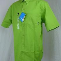 Columbia Mens Large Lt 100% Cotton Short Sleeve Button Green Fishing Shirt New Photo
