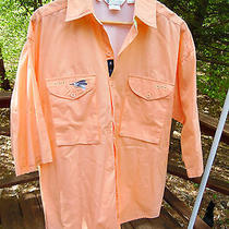 Columbia Mens M Radial Sleeve Fishing Breathable Orange Camp S/s Button Up Shirt Photo