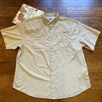 Columbia Mens Pfg Fishing Shirt 2xl Beige Short Sleeve Omni Shade Vented Back Photo