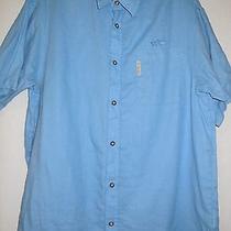 Columbia Mens Size Large Linen Blend River Lodge Blue Short Sleeve Button Shirt Photo