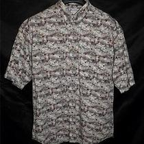 Columbia Mens Xl Brown Orange Fish Print Shirt Short Sleeve Cotton Fishing Photo