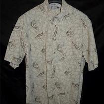 Columbia Mens Xl Khaki Brown Fish Print Shirt Short Sleeve Fishing Button Front Photo