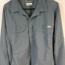 Columbia Mens  Xl Shirt Long Sleeve Blue Button Up Pockets Omni Shade 100% Nylon Photo