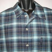 Columbia Mens Xxl 2xl Green Plaid Short Sleeve Button Fishing Camp Shirt Cotton Photo