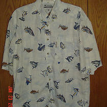 Columbia Ocean Fish Fishing Design Short Sleeve Shirt Men's M Medium 100% Cotton Photo