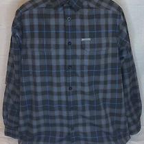 Columbia Omni-Dry Flannel Shirt Jacket Men's Sz L Fleece Lined Blue Gray Plaid Photo