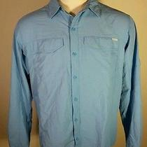 Columbia Omni Shade Baby Blue Fishing Shirt Dry Fit Dri  L Large Photo
