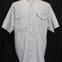 Columbia Pfg Bonehead Fishing Shirt Short Sleeve Fossil Tan Mens Large 5266 Photo