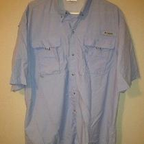 Columbia Pfg Fishing Shirt Performance Fishing Gear Lt Blue Vented Large Tall Photo