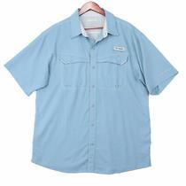 Columbia Pfg Men's Blue Vented Fishing Button Up Shirt - Size Large Photo