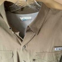 Columbia Pfg Men's Khaki Solid Cotton Omni Shield Long Sleeve Shirt Size Large Photo