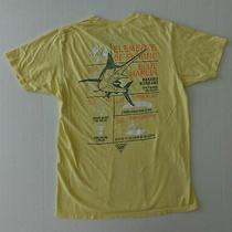 Columbia Pfg Men's T-Shirt Size Medium Yellow Elements of Fishing Graphic Photo