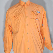 Columbia Pfg Orange Fishing Shirt Medium Photo
