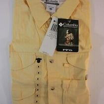 Columbia Pfg Shirt Fishing Bonehead S/s Mens Medium Outdoor Yellow New Photo