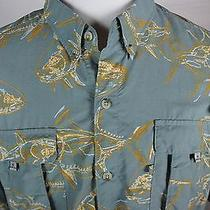Columbia Pfg Super Bahama Size Xxl 2xl Fish Pattern Mens Fishing Green Photo