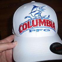 Columbia Pfg White/red/blue Mens Hat Osfm Flexfit L/xlomni-Shade Upf 40 .nwt Photo