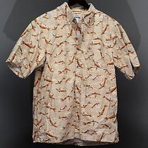 Columbia River Lodge Fish Pattern Short Sleeve Button-Front Shirt Men's Size M Photo