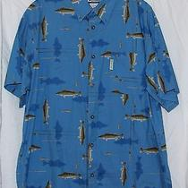 Columbia River Lodge Men's Blue Outdoors Summer Cotton Fishing Shirt Sz Xl  Photo