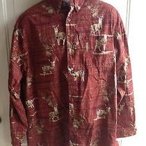 Columbia River Lodge Men's Long Sleeve Button Down Red Shirt Deer Mens Sz L Photo