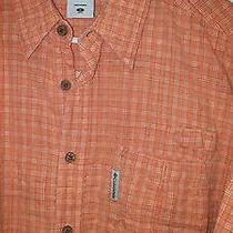 Columbia River Lodge Men's Short Sleeve Shirt Orange Plaid M Photo