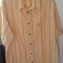 Columbia River Lodge Men's Xxl Shirt Short Sleeve 2xl Casual Gray Stripe W Fish Photo