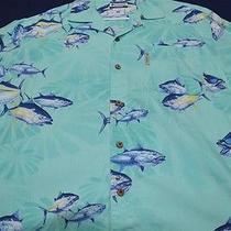 Columbia River Lodge Xl Sea Green Fish Men's Shirt  Photo