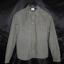 Columbia S Dark Green Corduroy Snap Front Jacket Coat River Resort Brown Trim Sm Photo