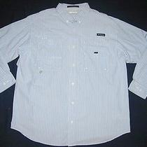 Columbia Shirt Bonehead Pfg Fishing Size Xl Cotton Ventilated Back Blue Stripe Photo